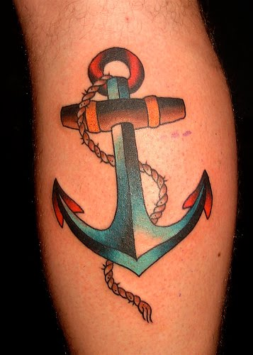 Modern old anchor tattoo