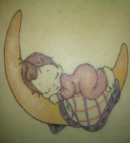 Baby Sleeping On Moon Tattoo