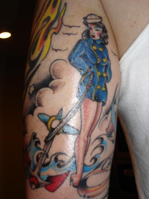 Colorful sailor jerry tattoo