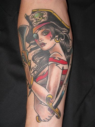 Girl pirate tattoo picture.