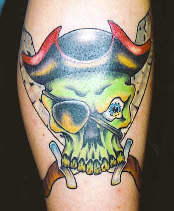 Pirate skull with crossed swords tattoo.