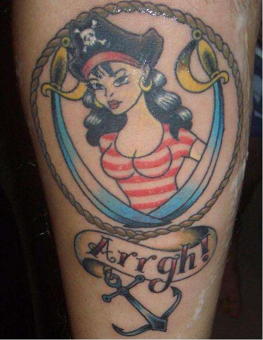 Classic pirate girl tattoo.