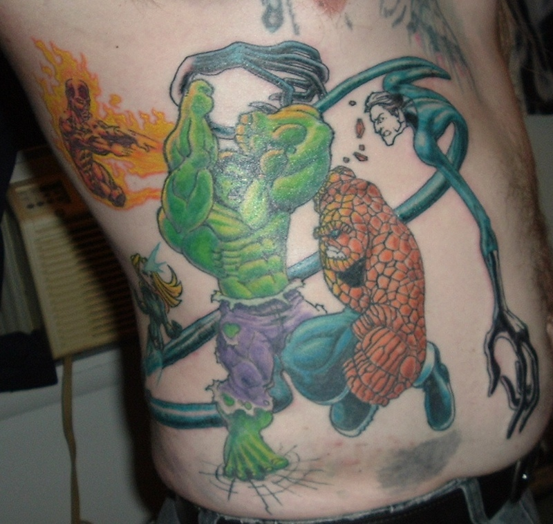 Comic book hulk and thing tattoo.