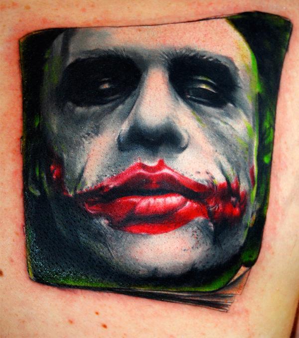 Jack Nicholson joker tattoo.