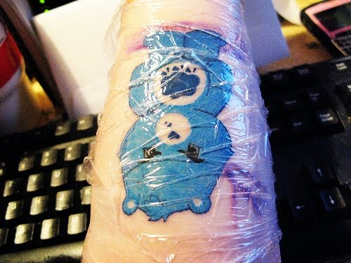 Fresh Care Bear tattoo artwork. Posted by tattoo at 1:53 PM