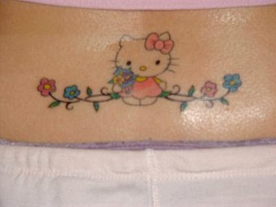 Hello Kitty lower back tattoo