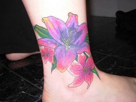 Flower ankle tattoo.