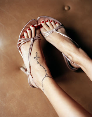 rosary ankle tattoos. Rosary cross ankle tattoo on