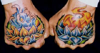 Flower Tattoo   on Lotus Flower With Flames Hand Tattoo
