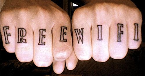 Free Wifi knuckle tattoo.