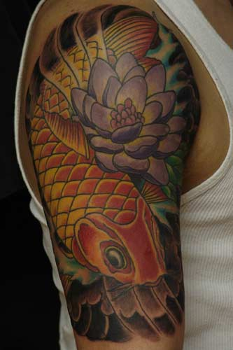 flower sleeve tattoos. Koi fish and lotus flower idea
