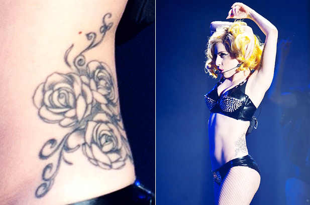 Lady Gaga Back Tattoo: Click to Close that covers areas of her lower back
