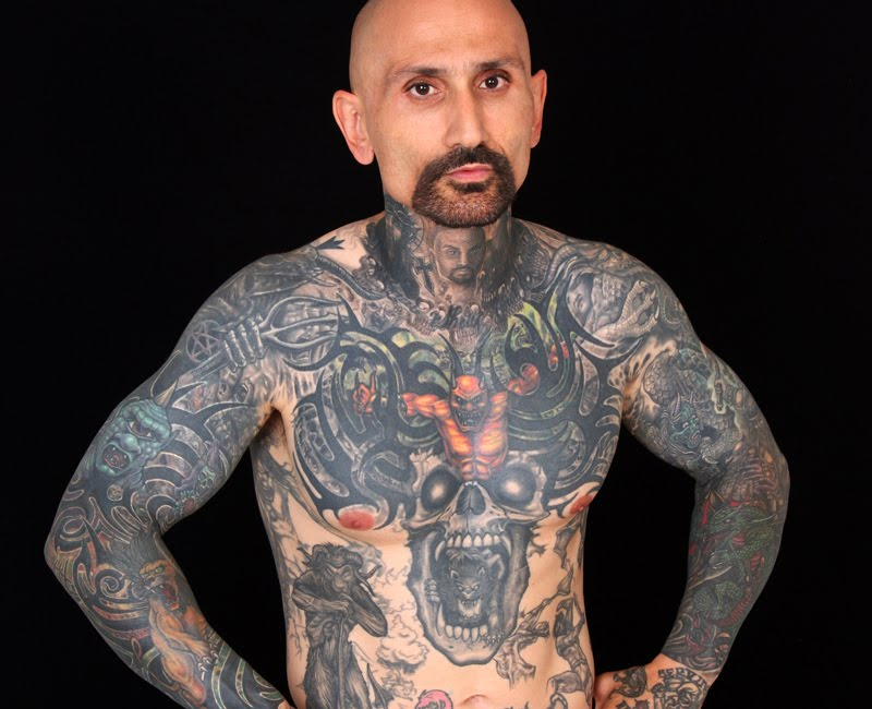 Robert lasardo is almost completely covered in tattoos most of which