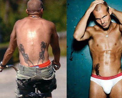 Freddie Ljungberg has two rather large black panther tattoos, one located on