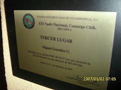 Placa del tercer lugar Nacional de Camargo Chih. Sección 2.