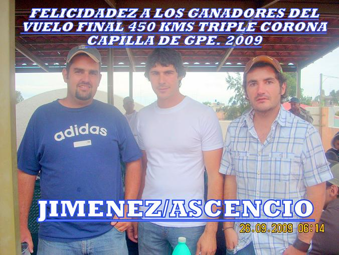 Ganadores del vuelo final 450 km. Triple Corona Capilla de Guadalupe.