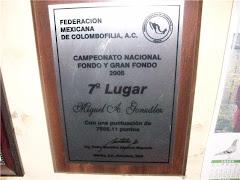 Placa por haber obtenido el sèptimo lugar en el campeonato Nacional de fondo y gran fondo 2005.