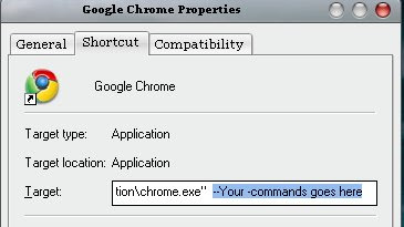 How to start chrome with user commands