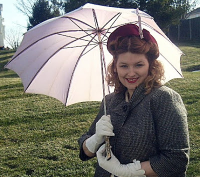 antique purple umbrella and 1950s felt hat via va-voom vintage