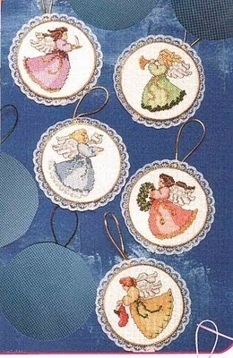 Punto de Cruz GRATIS: Minis de ángeles Navideños