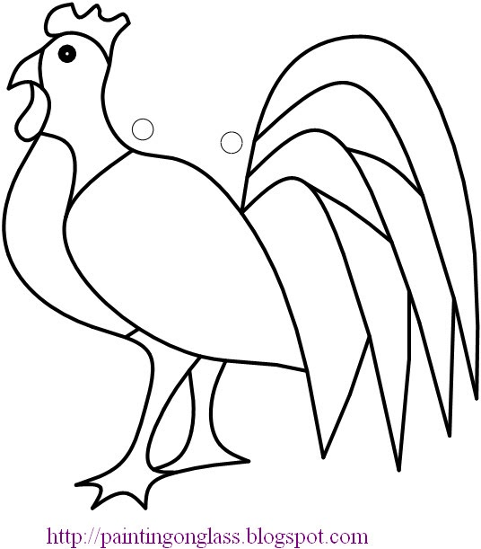 Free Stained Glass Pattern:Rooster