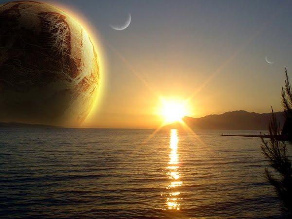 Orange Sunset space art