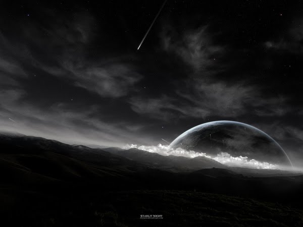 Starlit Night black and white Wallpaper