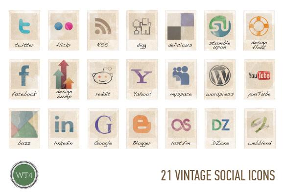 21 free social vintage icons