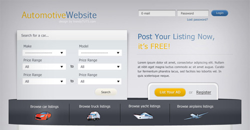 How to create an automotive web template using Photoshop