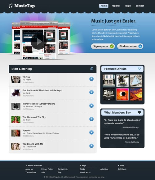 Beautiful Music Streaming Website Design