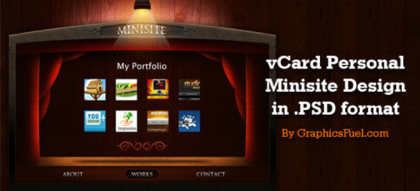SixRevisions releases vCard Personal Portfolio Minisite PSD