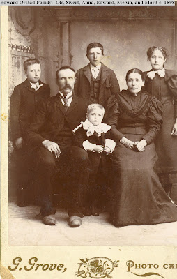 Edward and Marit Orstad family a year before the birth of their last child, my grandfather Elmer Orstad, in 1899--their only American child