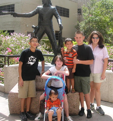 Under a statue of Toribio Losoya: Andrew, Michael, Caitlin, JD, Bryan, and Carrie