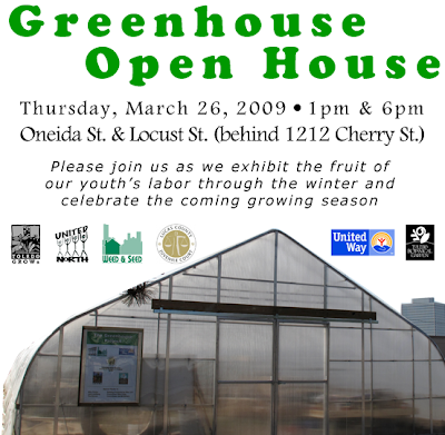 Oneida Greenhouse Open House, Thursday, March 26, 1pm & 6pm