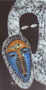 zorica, đuranić, art, paintings, canvas, batik, blue, mask