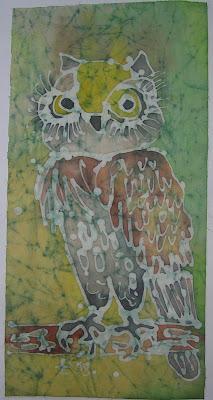 zorica, đuranić, batik, paintings, canvas, art, owl