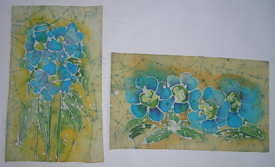 zorica, đuranić, batik, canvas, art, paintings, blue, flowers