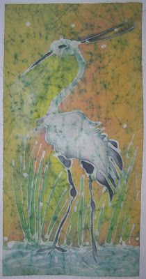 zorica, đuranić, batik, canvas, paintings, art, artistic, fauna, white, heron