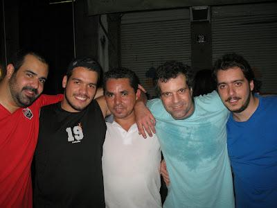 Daniel Frangiotti, Bruno Tirone, Leudo, Rodrigo Ferrari e Arthur Favela na rua do Ouvidor, 08 de dezembro de 2007