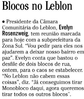 nota publicada na coluna GENTE BOA do SEGUNDO CADERNO de O GLOBO de 21 de janeiro de 2008