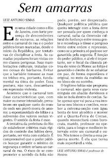 texto de Luiz Antonio Simas publicado em O GLOBO de 21 de janeiro de 2010