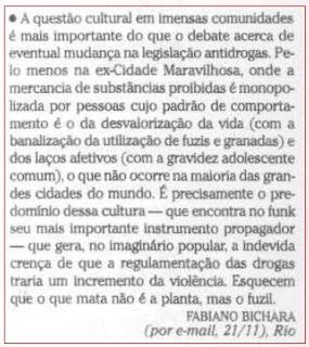 publicada na seção CARTA DOS LEITORES de O GLOBO em 23 de novembro de 2008