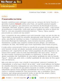 texto publicado em 03 de setembro de 2009 no blog NO FRONT DO RIO, de Cesar Tartaglia