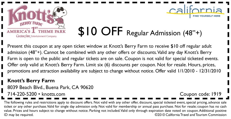 Discount coupons for knotts berry farm
