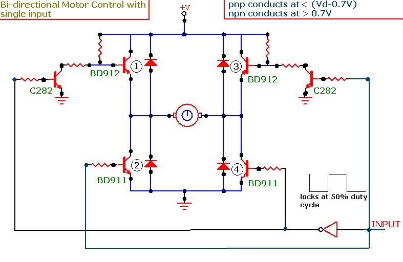 bidirectional control of dc motor using transistor based h bridge FET H-Bridge PWM Circuit