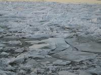Frozen river in St Petersburg Russia