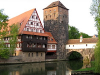 River and houses in Nuremberg Germany