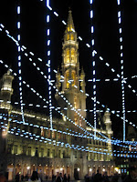 Grand Place in Brussels lit up at night