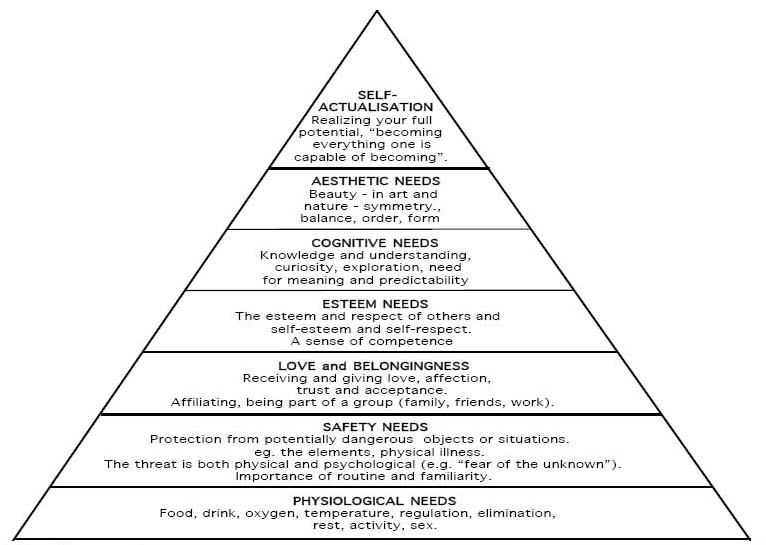 hierarchy of needs. MASLOW HIERARCHY OF NEEDS