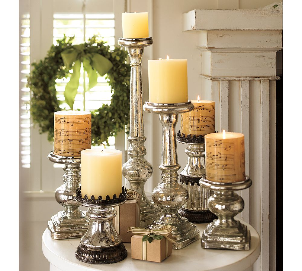 Blue artichoke interiors christmas decorating start for Christmas candle displays